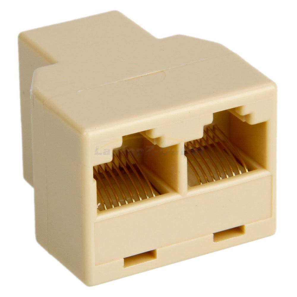 rj45 1x2 ethernet connector splitter 1 to 2 sockets internet cable cat 5 6 ebay. Black Bedroom Furniture Sets. Home Design Ideas